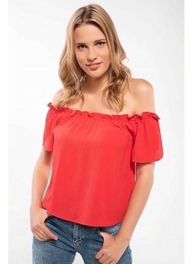DeFacto Karmen Yaka Bluz Kırmızı